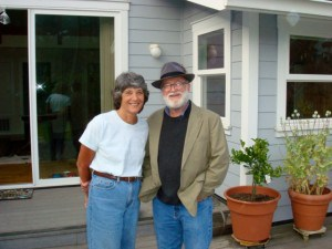 Editor John Daniel and wife Susan, publishing house manager, on the deck of their house